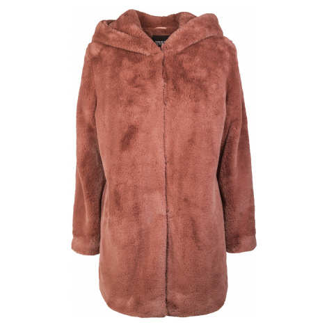 Urban Classics - Ladies Hooded Teddy Coat - Girls coat - dusky pink