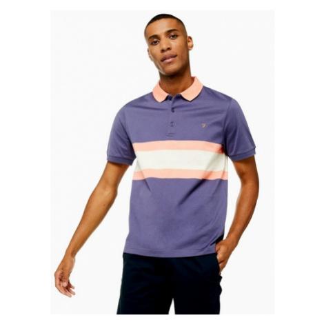 Mens Farah Purple 'Rushton' Stripe Polo*, Purple