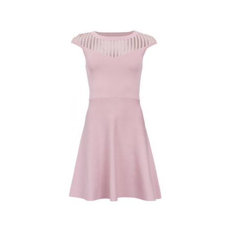 French Connection Flared dress Round neck Short sleeves women's Dress in Pink