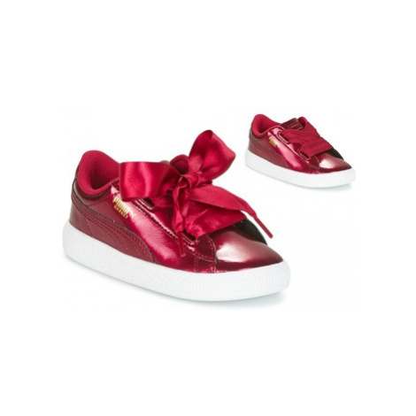 Puma BASKET HEART GLAM INF girls's Children's Shoes (Trainers) in Red