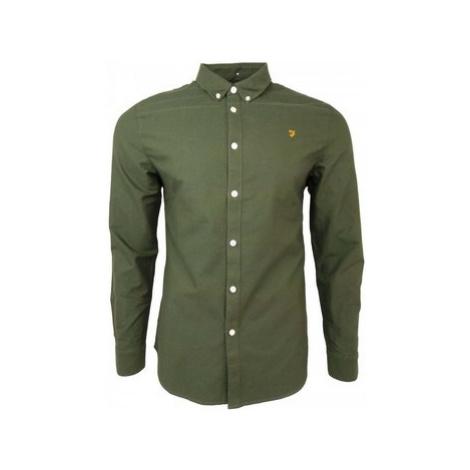 Farah Brewer Slim LS BD men's Long sleeved Shirt in Green