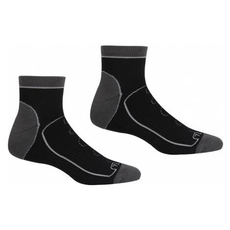 Regatta Mens Samaris Trail Socks (2 Pack)-Black / Dark Steel-6 - 8