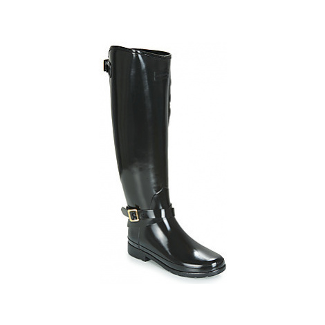 Hunter REFINED QUILTED RIDING TALL women's Wellington Boots in Black