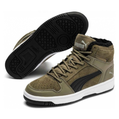 Puma REBOUND LAYUP FUR SD JR dark green - Kids' leisure shoes