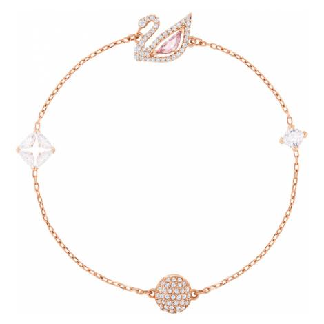 Dazzling Swan Bracelet, Multi-coloured, Rose-gold tone plated Swarovski