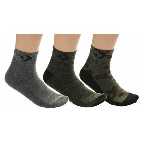 socks Converse Hodgeman Camo Combo Quarter 3 Pack - E724V/Camo Med Olive/Medium Gray Heather/Fil