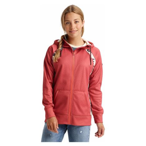 sweatshirt Burton Crown Bonded Zip - Burnt Sienna Heather/Burnt Sienna Brickstripe - women´s