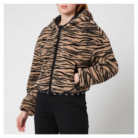 Calvin Klein Jeans Women's Zebra Sherpa Jacket - Zebra Aop Irish Cream Black