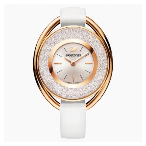 Crystalline Oval Watch, Leather strap, White, Rose-gold tone PVD Swarovski