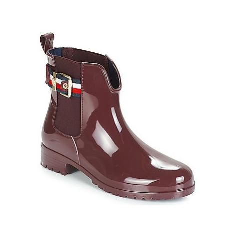 Tommy Hilfiger CORPORATE BELT RAIN BOOT women's Wellington Boots in Red