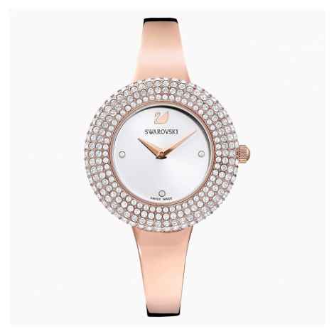 Crystal Rose Watch, Metal bracelet, White, Rose-gold tone PVD Swarovski