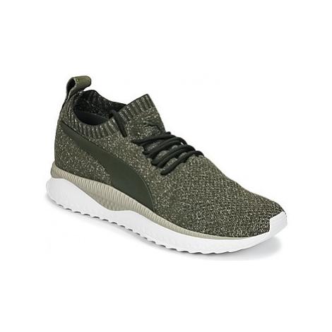 Green men's running shoes