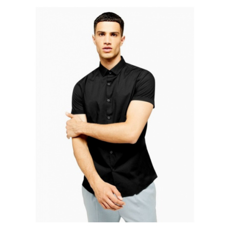 Mens Black Slim Smart Shirt, Black Topman