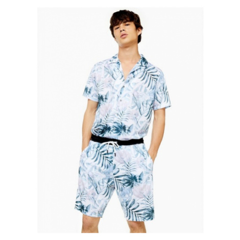 Mens Cream Ecru Floral Print Shorts, Cream Topman