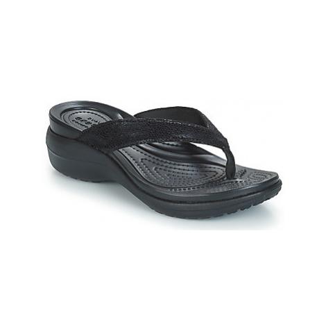 Crocs CAPRI METALLICTXT WEDGE FLIP W women's Flip flops / Sandals (Shoes) in Black