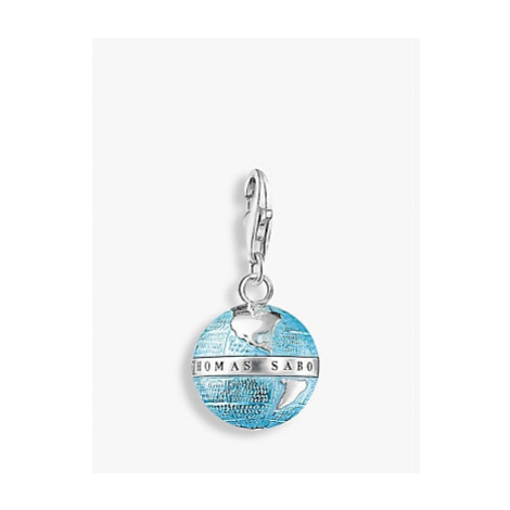 THOMAS SABO Charm Club Enamel Globe Charm, Blue/Silver