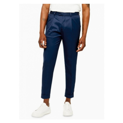 Mens Blue Skinny Fit Turn Up Smart Trousers, Blue Topman