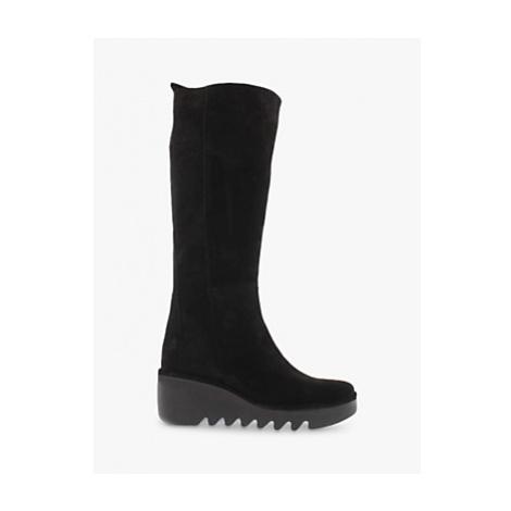 Fly London Barv Suede Wedge Heel Knee High Boots, Black