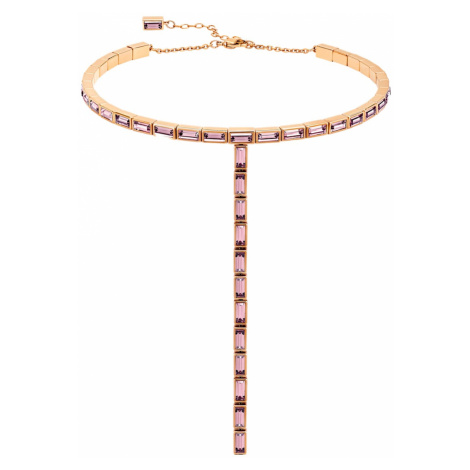 Fluid Necklace, Violet, Rose-gold tone plated Swarovski
