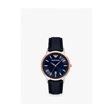 Emporio Armani AR11188 Men's Date Leather Strap Watch, Navy