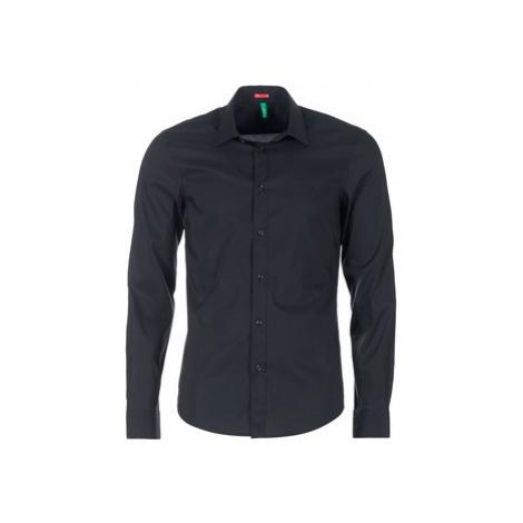Benetton MERLO men's Long sleeved Shirt in Black United Colors of Benetton