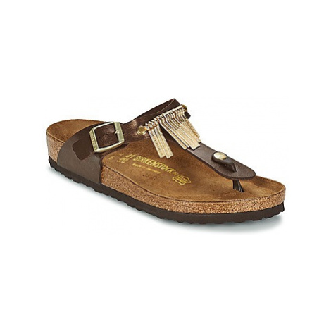 Birkenstock GIZEH FRINGE women's Flip flops / Sandals (Shoes) in Brown
