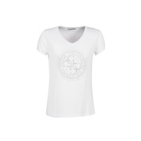 Guess GLITTER STAMP women's T shirt in White
