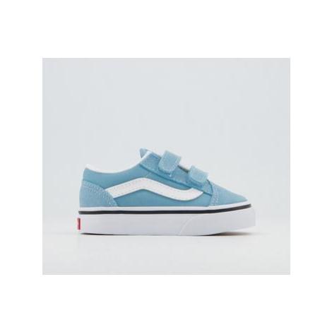 Vans Old Skool Toddler Trainers BLUE TRUE WHITE