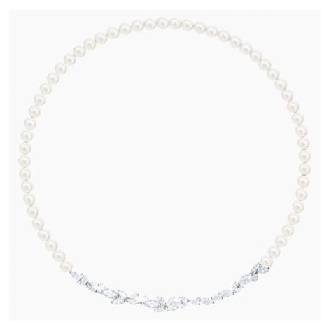 Louison Pearl Necklace, White, Rhodium plated Swarovski