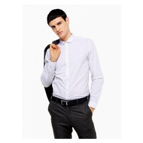Mens White Jacquard Penny Collar Slim Shirt, White Topman