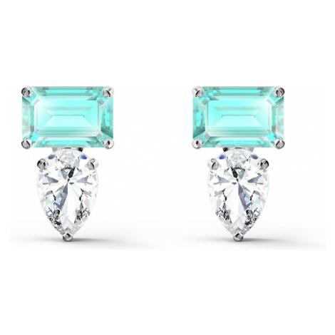 Attract Rectangular Pierced Earrings, Green, Rhodium plated Swarovski