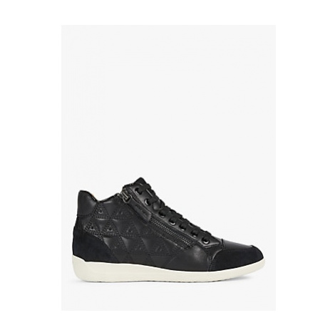 Geox Women's Myria Leather Lace Up Trainers, Black
