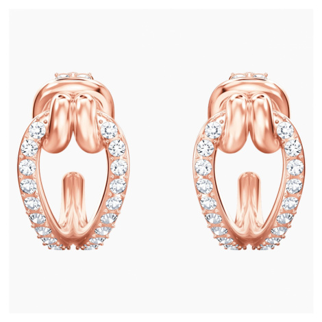 Lifelong Hoop Pierced Earrings, White, Rose-gold tone plated Swarovski