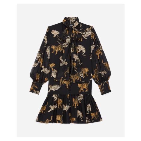 The Kooples - Short black dress with leopard print - WOMEN