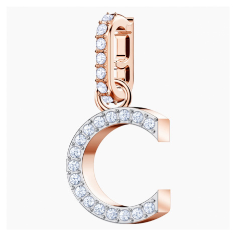 Swarovski Remix Collection Charm C, White, Rose-gold tone plated