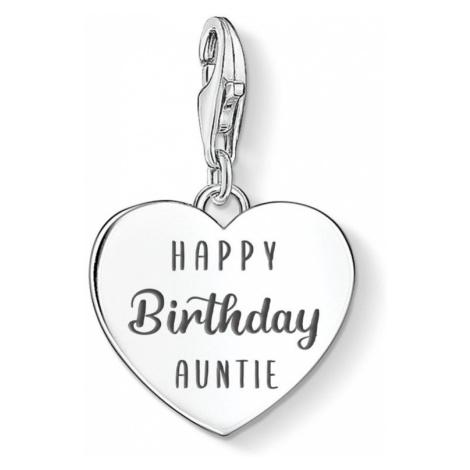 THOMAS SABO Charm Club Silver Happy Birthday Auntie Heart Charm