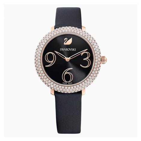 Crystal Frost Watch, Leather strap, Black, Rose-gold tone PVD Swarovski