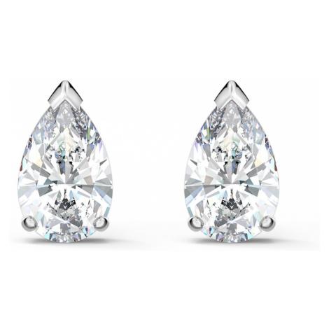 Attract Pear Stud Pierced Earrings, White, Rhodium plated Swarovski