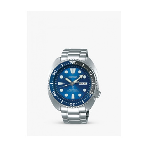 Seiko SRPD21K1 Men's Prospex Divers Automatic Day Date Bracelet Strap Watch, Silver/Blue