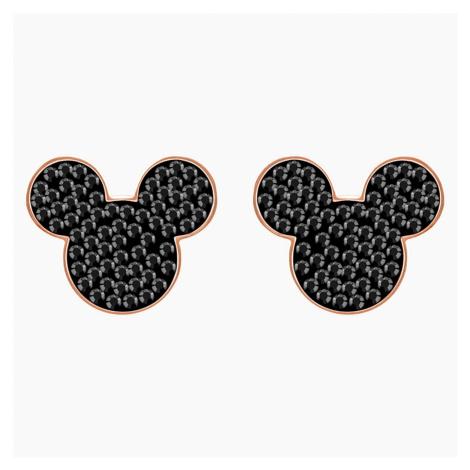Mickey & Minnie Pierced Earrings, Black, Rose-gold tone plated Swarovski