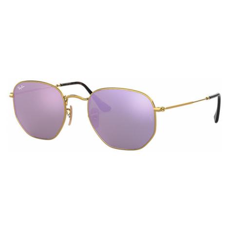 Ray-Ban Hexagonal flat lenses Man Sunglasses Lenses: Violet, Frame: Gold - RB3548N 001/8O 54-21