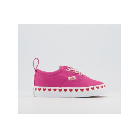 Vans Authentic Toddler Trainers HEART FOXING FUCHSIA PURPLE HIGH RISK RED