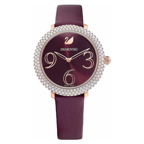 Crystal Frost Watch, Leather strap, Dark red, Rose-gold tone PVD Swarovski