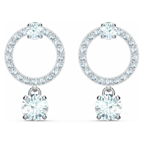 Attract Circle Pierced Earrings, White, Rhodium plated Swarovski