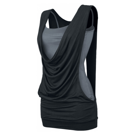 Forplay - Open Double Layer - Girls Top - black-grey