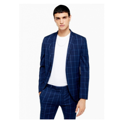 Mens Blue Navy Super Skinny Fit Windowpane Check Single Breasted Suit Blazer With Notch Lapels,  Topman