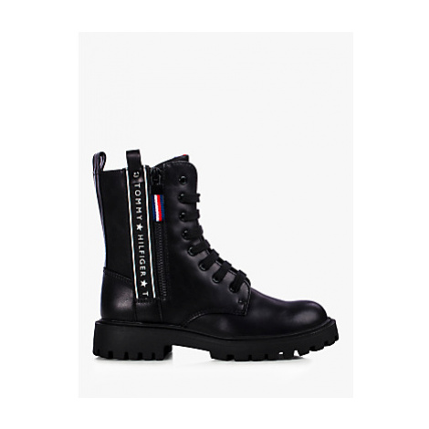 Tommy Hilfiger Children's Repeat Logo Tape Lace-Up Boots, Black