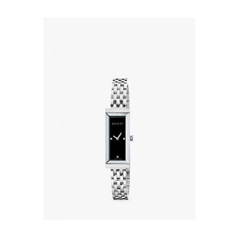 Gucci YA127504 Women's G-Frame Rectangular Diamond Set Bangle Strap Watch, Silver/Black