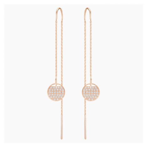 Ginger Chain Pierced Earrings, White, Rose-gold tone plated Swarovski