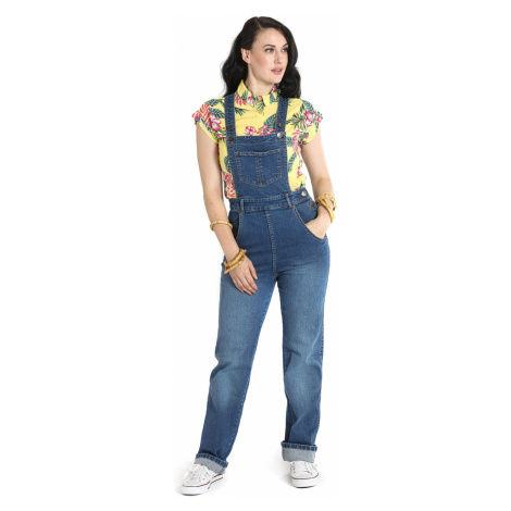Hell Bunny - Betty Bee Dungaree - Jumpsuit - blue